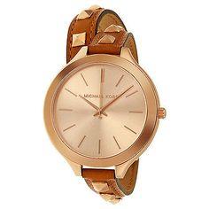 Michael Kors Runway Rose Dial Brown Leather Ladies Watch MK2299