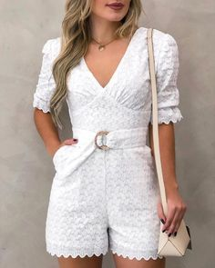 chicme / V Neck Lace Embroidery Romper With Belt Short Jumpsuits For Women, Chic Outfits, Fashion Outfits, Designer Party Dresses, Trend Fashion, High Fashion, Lace Embroidery, Bardot, Pattern Fashion