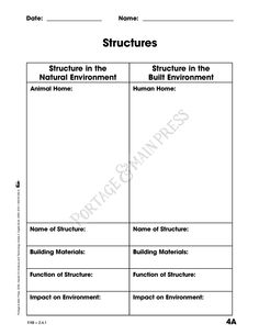 Grade 3 Science - Structures activity sheet