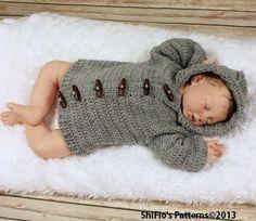 Crochet Pattern For Unisex Hooded Jacket 5 Sizes Crochet by shifio, $3.99