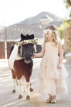 Flower girl with a miniature horse   #horse #horses #horselover      http://www.islandcowgirl.com/