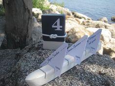 Wood escort/place card holder strip boat shape Nautical