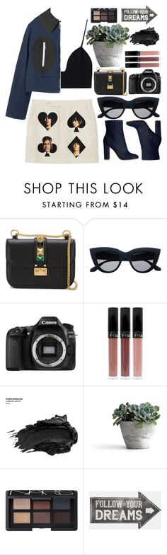"""FOLLOW YOUR DREAMS"" by shanelala ❤ liked on Polyvore featuring Valentino, Eos, Urban Decay, NARS Cosmetics and Sass & Belle"