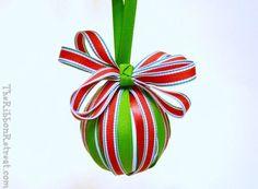 Ribbon Wrapped Christmas Ornament - {The Ribbon Retreat Blog}