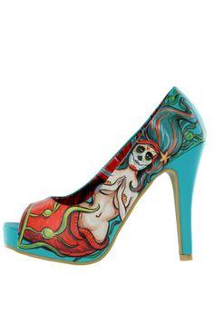"""Sailor Sinker peep toe platform 5"""" heels in turquoise.  Underwater mermaid babe artwork by the amazing Perth artist Fieldey!!"""