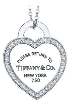 Tiffany Co Return To Heart Tag Pendant In 18 Karat White Gold With Diamonds On 53 Off Jewelry At Tradesy