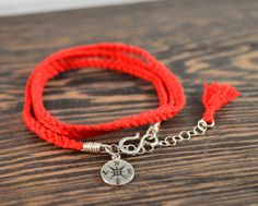 Compass Rose Silk Wrap Bracelet in Red by CatMHorn on Etsy