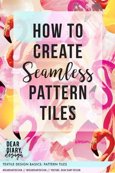 A seamless pattern is made up of image 'tiles' that repeat edge to edge. When the 'tiles' are placed next to each other, above and below each other, they create an endless print, also known as a seamless pattern. Dear Diary, Design Basics, Your Design, Design Textile, Textiles, Illustrator Tutorials, Creating A Blog, Pattern Illustration, Photoshop Tutorial