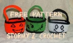Halloween Treat Baskets Pattern - Stormy'z Crochet -Cute & Easy Designs - free crochet pattern