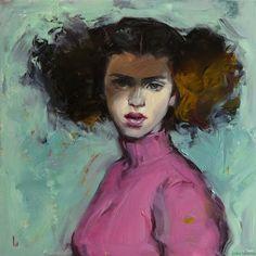 """Daily+Paintworks+-+""""Pink+Turtleneck""""+-+Original+Fine+Art+for+Sale+-+©+John+Larriva"""
