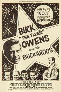 Rock Posters, Band Posters, Music Posters, The Filmore, Fillmore West, Buck Owens, Bill Graham, Vintage Concert Posters, Bob