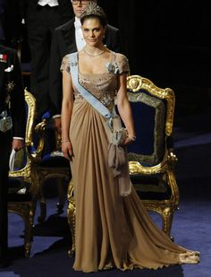Crown Princess Victoria of Sweden  in Elie Saab gown during the 2010 Nobel Prize Award Ceremony in Stockholm,