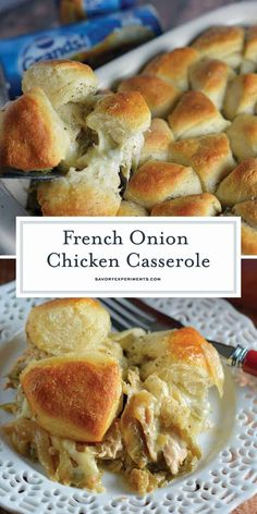 French Onion Chicken Casserole is a one-dish meal that blends chicken, green bea. French Onion Chicken Casserole is a one-dish meal that blends chicken, green beans, a creamy sauce, and buttery biscuits. Casserole Dishes, Casserole Recipes, Onion Casserole, Healthy Chicken Casserole, Turkey Casserole, Cabbage Casserole, French Onion Chicken, Lemon Chicken, French Chicken Recipes