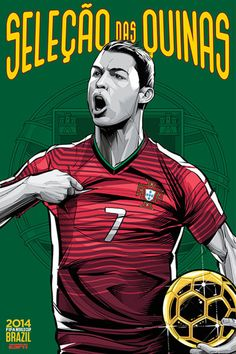 Portugal, Afiches fútbol Copa Mundial Brasil 2014 / World Cup posters by Cristiano Siqueira