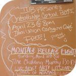 Student event advertisements hand-written on a chalkboard