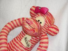 Sock Monkey Doll Plush Toy  In Pink and Orange by AsYouWishCreations4u, $30.00