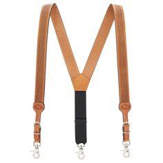 NATURAL Basketweave All-Leather Western Suspenders|SuspenderStore