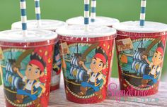 Kids Party Cups-Jake and the Neverland Pirates Party-Set of 8 on Etsy, $12.40