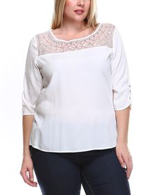 Look at this Ivory Beaded Boatneck Top - Plus on #zulily today!