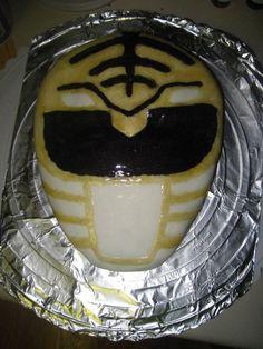 White Power Ranger helmet cake