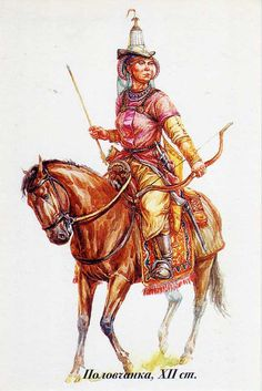 """Kipchak steppe female warrior.   """"Kipchaks were a Turkic tribal confederation. They conquered large parts of the Eurasian steppe during the Turkic expansion of the 11th to 12th centuries together with the Cumans, and were in turn conquered by the Mongol invasions of the early 13th century.""""    http://www.flickr.com/photos/10072349@N05/6345711819/sizes/l/in/photostream/"""