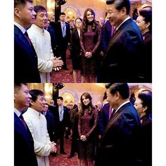 """Catherine, Duchess of Cambridge, Chinese President Xi Jinping and his wife, Madame Peng Liyuan talk with Kung-Fu star Jackie Chan as they attend a """"Creative Collaborations: UK & China"""" event at Lancaster House on October 21, 2015. . . #katemiddleton #duchessofcambridge"""