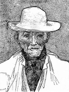 Drawing of an Old Peasant - Vincent Van Gogh