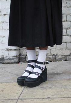 Buckle Strap Wedge Black. So cute!