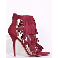 Wild Diva Lounge Adele Fringe Heels ($33) ❤ liked on Polyvore featuring shoes, pumps, rubber sole shoes, fringe pumps, traction shoes, caged pumps and stiletto heel pumps