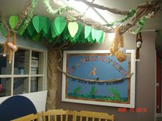 Part of the Jungle Theme Sunday School Room decorations I recently did. I also posted the template with the instructions for the leaves. The vines are crumpled strips of brown butcher paper. This would also work well in a classroom or for a party.