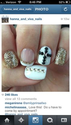 Clear gold & black cross nails