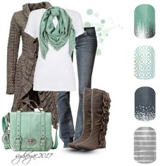 I love the mint green/gray combo!  Jamberry Styles:  - Iced - So Fresh-Midnight Celebration -Gray and Silver Strip