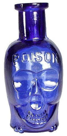 "The very rare 3 ½"" 'middle' size skull poison (they come in 3 sizes - small one below). Embossed POISON on the forehead, and PAT APPL'D FOR on the back label panel near the base. Deep cobalt blue color, with embossed crossbones across the base (this is th Old Medicine Bottles, Antique Glass Bottles, Bottles And Jars, Perfume Bottles, Liquor Bottles, Bleu Cobalt, Himmelblau, Murano, Blue Bottle"