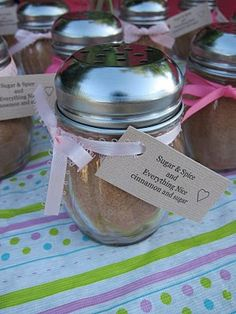 What a cute idea for a girl baby shower! These shakers are at the dollar store