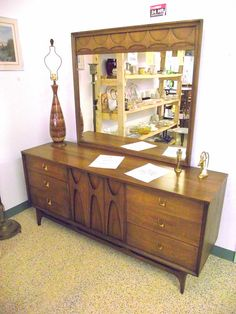 Mid Century Modern Brasilia Credenza Sideboard & Mirror Broyhill Walnut 9 Drawer - Danish Modern on Etsy, $1,299.99