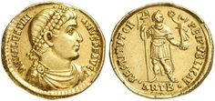 Valentinian I (364-375). Solidus, 4.44 g, Antioch, 366. D N VALENTINI – ANVS P F AVG. Pearl-diademed draped bust right. / RESTITVTOR REIPVBLICAE. Valentinian standing faced, head right, holding labarum and crowning Victory on globe. In exergue, · ANTB ·.  RIC 2a / XXV; C. 28; Depeyrot 26/1. $1.966.