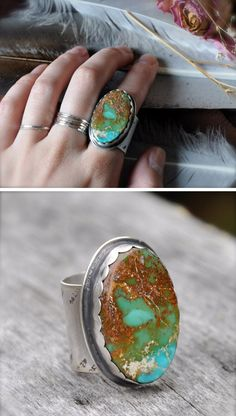 Turquoise ring / thestrayarrow on etsy - huge but love the earthy colors