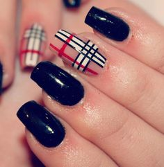 36 Beautiful Modern Nails With Bombastic Design This one lookalikes with a Burberry scarf I saw