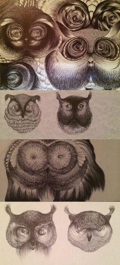 #OWL #FACES by Teresa Mazzanti
