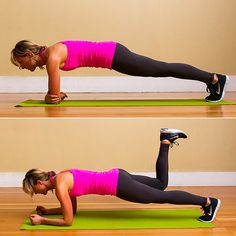 Elbow Plank Donkey Kick  Evolve your basic donkey kick into a full-body move. Working your glutes and hamstrings in an elbow plank will work your core. Toning your abs and your behind with one move is a win-win in my book. FITSUGAR