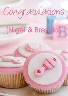 Personalised Pink Baby Cupcake Congratulations card - Get all your personalised Congratulations cards from HelloTurtle