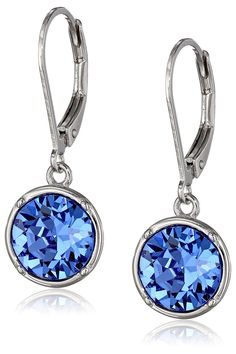 Sterling Silver Swarovski Elements Crystal Round Lever Back Drop Earrings * You can find more details by visiting the image link.
