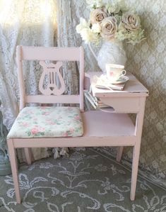 Shabby Gossip Bench,Telephone Stand,Lyre Back Bench,Gossip seat, Shabby Cottage Chic,Pink Rose floral,Paris Apartment,1940's,svfteam by Fannypippin on Etsy https://www.etsy.com/listing/246454900/shabby-gossip-benchtelephone-standlyre