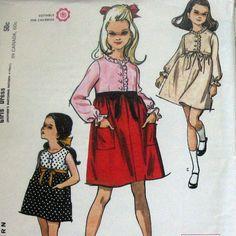 Vintage Girls Dress Pattern With Empire Waistline Sundress Or Optional Long Sleeves circa 1965 McCalls 8052 Sz10. $5.99, via Etsy.