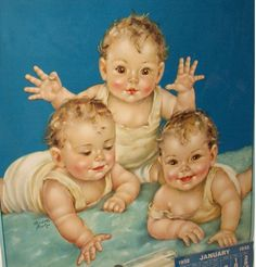 More of Charlotte Becker work, Twins, Triplets: Becker - Four Souls with a Single Thought Baby Images, Baby Pictures, Cute Pictures, Clipart Baby, Baby Clip Art, Baby Art, Vintage Pictures, Vintage Images, Vintage Illustration
