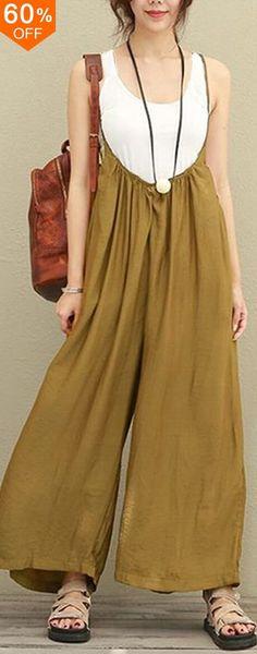 Women Casual Sleeveless Strap Baggy Wide Leg Pant Jumpsuit Rompers. #women #leggings #fashion