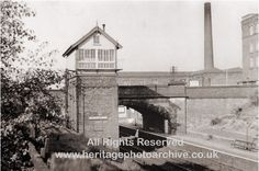 Radcliffe Black Lane signal box looking SE 1950     The signal box was built allowing the signalman to view trains beyond the bridge in the station and in the siding next to Black Lane Spinning Mill. The view is taken looking south east.