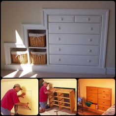 In most cases a knee wall is not a load-bearing partition. You can make a Knee Wall Dresser without sacrificing a single square inch of floor space. -- Learn more by clicking on the image Home Renovation, Home Remodeling, Built In Dresser, Diy Casa, Attic Bedrooms, Bunk Rooms, Wall Storage, Storage Ideas, Bedroom Storage