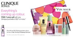 Choose Pink or Violet colour collection for 7-pc Clinique gift at Von Maur. Now free with any $27+ Clinique purchase. http://clinique-bonus.com/other-us-stores/