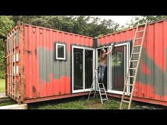 Shipping Container - How to Install Aluminum Doors - Living Tiny Project Ep. Shipping Container Sheds, Container Homes For Sale, Cargo Container Homes, Container Shop, Building A Container Home, Building A Tiny House, Container Cabin, Container Buildings, Container Architecture